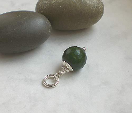 Grüner Jade Anhänger rund 925 Silber, Kettenanhänger facettiert dunkelgrün Sterlingsilber, r134