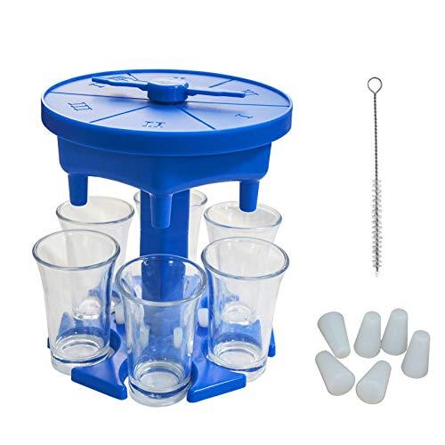 lossomly 6 vasos de chupito y soporte dispensador para rellenar líquidos, cócteles, bar, dispensador de chupitos, juego de bebidas, dispensador de cerveza con 6 tazas, placa de juego