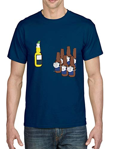 ALLNTRENDS Men's T Shirt Corona Funny Graphic Virus of 2020 Humor Tshirt (XL, Navy Blue)