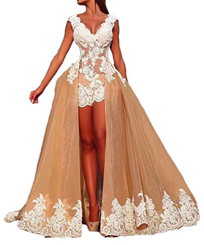 alilith.Z Sexy V Neck See Through Prom Dresses 2019 Lace Appliques Formal Evening Dresses for Women with Detachable Train Champagne