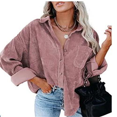 RICHBA Camisa de pana de manga larga con botones y bolsillos para mujer, rosa, L