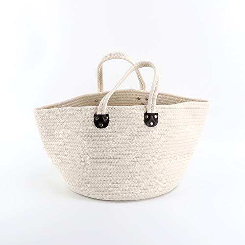 収納ボックス コットンロープバスケット 折り畳み式 収納バッグ ビニール袋 おもちゃボックス 服 タオル収納 小物入れ ホーム 家庭用 円形 (白, 36x26x16cm)