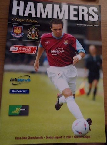 West Ham v Wigan Athletic Football Programme August 15th 2004
