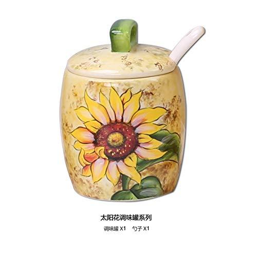 Creativa ciotola di zucchero per shaker,set vaso in ceramica dipinto a mano condimento europeo3pezzi serbatoio di vento rurale scatola di vento rurale K