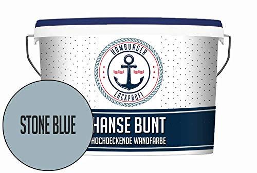 Hanse Wandfarbe Stone Blue matt Blau Innenfarbe Dispersionsfarbe HOCHDECKEND & GERUCHSARM (5 L)
