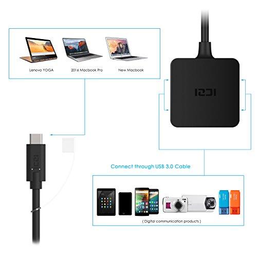 ICZI USB C HUB, Mini Quadrat USB 3.0 Adapter, Extra Leicht 4 Port USB 3.0 Datenhub für Google Chromebook und Andere USB C Kompatibel Geräten