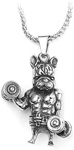YOUZYHG co.,ltd Collar Punk Fitness Muscle Dog Collares Pendientes Link Chai para Amantes de los Animales Regalos Me joyería Hip Hop Gothic Me Collar