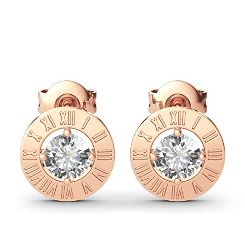 Jeulia Earrings Diamond Round 925 Sterling Silver Cubic Zirconia Stud Earrings Roman Numerals Circle Crystals Rose Gold Plated Birthstone Jewellery Set Hypoallergenic Earrings for Women Girls