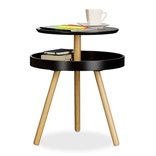 Relaxdays Beistelltisch rund schwarz, Holz, Birke, Ablage, Dreibein Sofatisch, Couchtisch, HxBxT: 55 x 47 x 47 cm, black