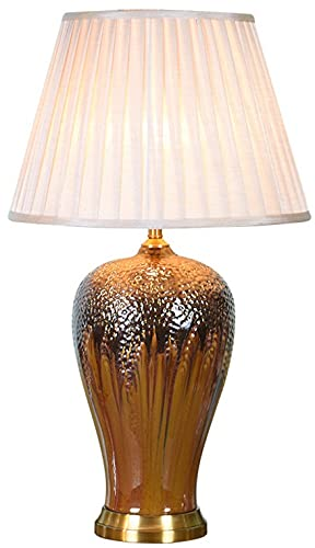 Zenghh Lámpara de Noche de Noche de Bronce Antiguo Palacio Rural Americano Lámpara de Mesa Noble Cerámica China Cambio de Horno Quicksand Gold Sky Light con Pantalla de la Pantalla para la Mesa de la