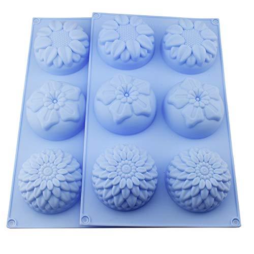 Silikonform für selbstgemachte, selbstgemachte Keksform mit Sonnenblumen, Chrysanthemen, Seife, Schokolade, Muffins, Cupcakes, 2 Packungen Item Name (aka Title)