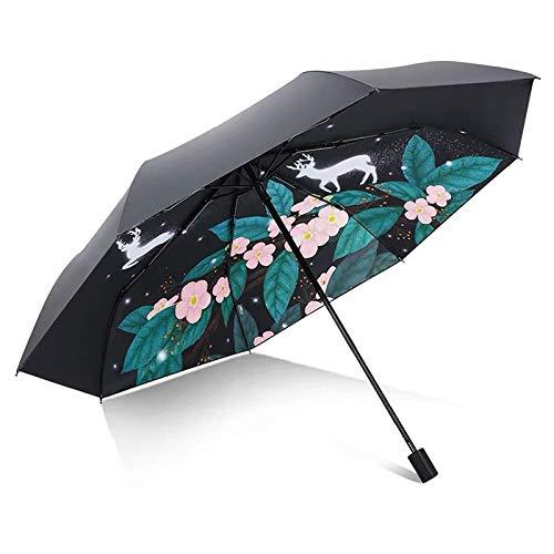 Paraguas Plegable Compacto a Prueba de Viento, Paraguas del Sol de Vinilo, Recubrimiento Compuesto, Triple, Interruptor de botón portátil, Doble Uso en días soleados y lluviosos