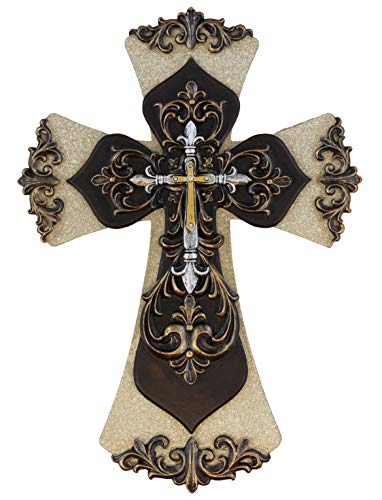 Old River Decorative Layered Tuscan Wall Cross Scrolly Fleur De Lis