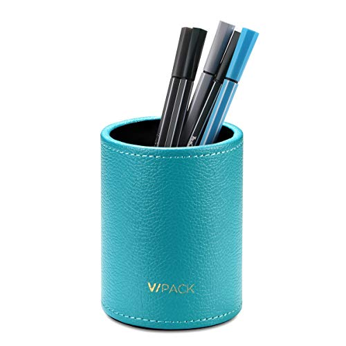 VPACK Round Pens Pencils Cup Holder - PU Leather Desk Stationery Organizer (Peacock Blue)