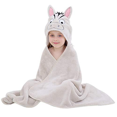MICHLEY Baby Kapuzenhandtuch Kleinkinder Polyesterfaser Babybadetuch, Kapuze Handtuch für Jungen und Mädchen, 120 * 70cm, 0-6 Jahre alt, Zebra