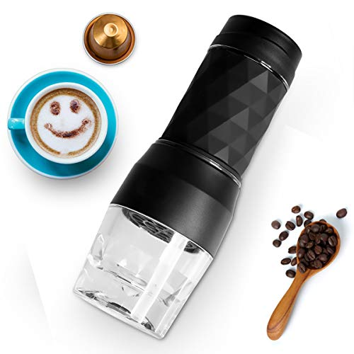 Portable Espresso Machines, Safeplus Hand coffee Maker, 20 Bar Pressure for Capsule & Ground Coffee,Manually Operated,Travel Gadgets, Compatible with Ground Coffee, Perfect for Camping