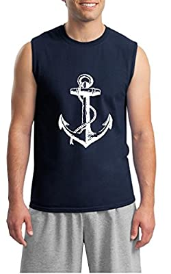 Men's Vintage Style Distressed Anchor Muscle Sleeveless Tank Top