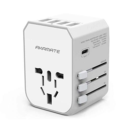 Travel Adapter, AKAMATE International Universal Power Wall Charger with 4 USB, 1 USB C, Smart IC, All in One Adapter for Europe, UK, US, AU, Asia and More