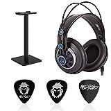 AKG K240 MKII Professional Semi-Open Stereo Headphones Bundle with Audiomate Headphone Stand and Mophead 3 Medium Guitar Picks