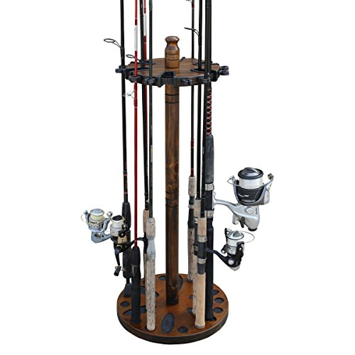 Rush Creek Creations Round 24 Fishing Rod Rack with Dual Rod Clips - No Tool Assembly - Water Resistant