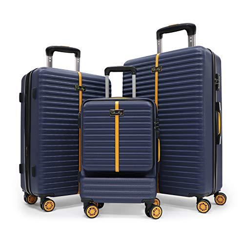 Set bagagli a 3 pezzi, valigia rotolante da viaggio hardside con serratura TSA, bagagli spinner hardshell in posizione verticale con maniglia telescopica 20/24/28 (SET, Blue)