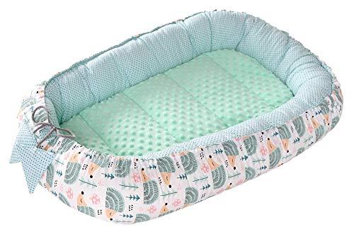 Babynest Kuschelnest Babynestchen 100% Baumwolle Nestchen Reisebett für Babys Säuglinge Medi Partners 90x50x13cm herausnehmbarer Einsatz (minze Igel mit minzer Minky)