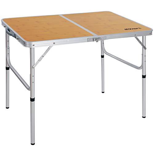REDCAMP おりたたみテーブル キャンプ 高さ調節可能な脚付き コンパクト 持ち運び アルミ アウトドア 90cm(2段高さ)