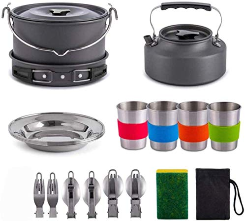 XHLLX Juego de cocina al aire libre, kit de utensilios de cocina para camping, para 5-6 personas