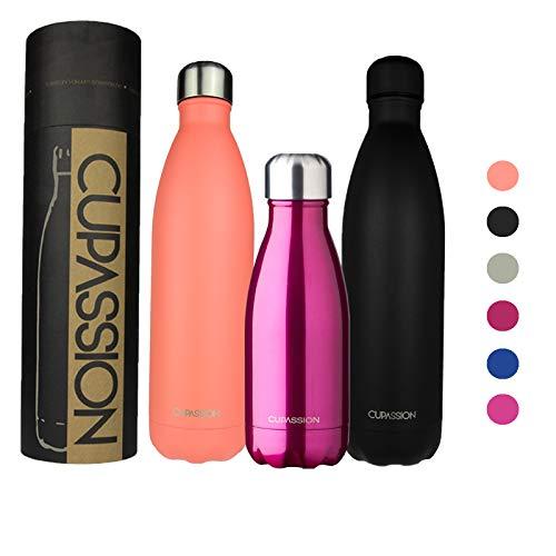 CUPASSION Evi Neon Pink Metallic - Edelstahl Vakuum Isolierflasche 260ml | Trinkflasche Wasserflasche | hält Getränke 18h heiß & 24h kalt | Thermosflasche & Thermoskanne |