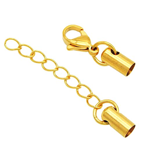 (J) チェーンチャーム付き エンドステンレスパーツ (カラー)ゴールド/(内径サイズ)1.6mm 部品 材料 レジン 資材 DIY キャッチ 接続金具 留め具 留め金具 革紐 ネックレス チョーカー