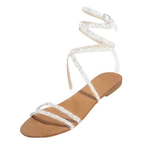 Nihewoo Sandals for Women Dressy Summer Women Ladies Flat Retro Slippers Crystal Sandals Shoes White