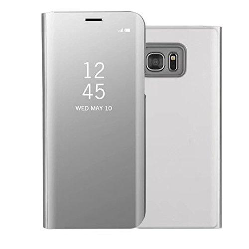 Sycode Luxus Screen Protector Silber Slim Fit Clear Standing View Spiegel Hülle Beirftasche für Samsung Galaxy S7-Silber Mirror