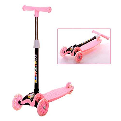 MENGLJ Cartoon Kinderroller Vierrädriger Flash-Dreirad-Kinderwagen Cartoon Kinderroller Spielzeug Geschenke,Pink
