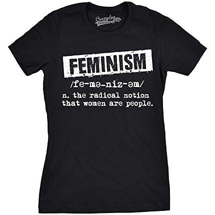 Crazy Dog Tshirts - Womens Feminist Definition Cool Empowerment T-Shirt For Ladies (Black) - S - Camiseta para Mujer