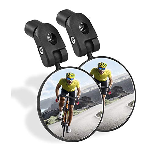 Sanctus Bike Mirror, 2pcs Bicycle Rear View Mirror, Safe Acrylic Convex Lens Adjustable Handlebar Mounted Rearview Mirrors for Mountain Road Cycling Bike
