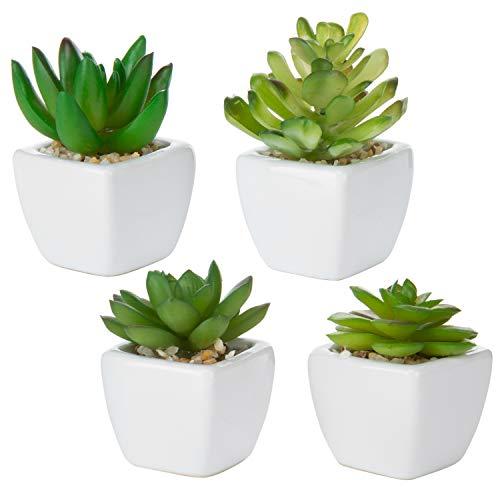 MyGift - Set di 4 mini piante grasse artificiali in plastica sintetica con vasi in ceramica bianca