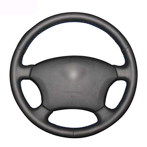 SBCX para Toyota Land Cruiser Prado 120 2003-2012, Cubierta de Volante de Coche de Cuero Artificial Cosida a Mano Negra