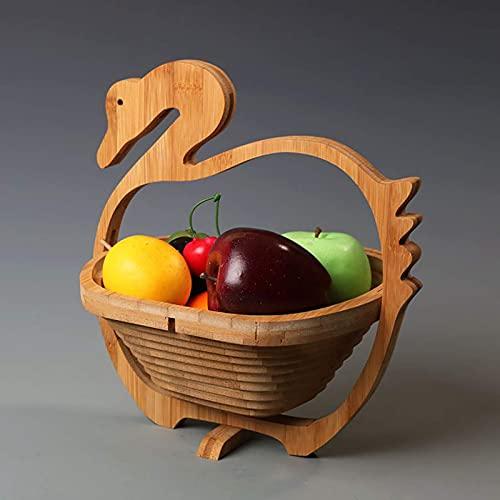 Cesta de frutas plegadas, tazón de fruta de bambú para almacenamiento de mostrador de cocina, plato moderno de frutas creativas, cestas de pan para frutas, bocadillos, ganso para el hogar 23x20x28cm (