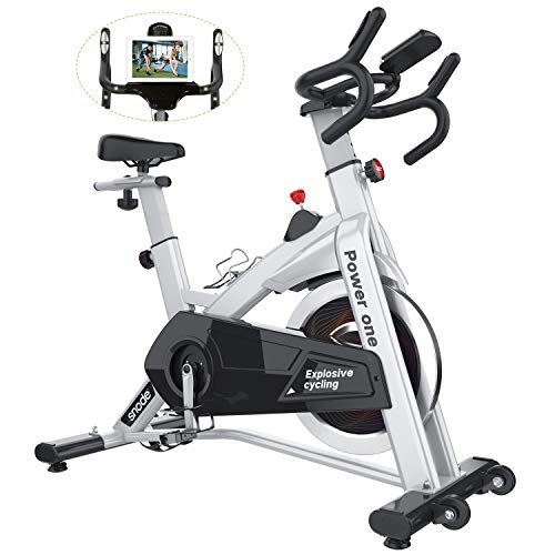 SNODE Indoor Cycling Bike, Stationary Bike with LCD Monitor, Exercise Bike with Adjustable Seat,...