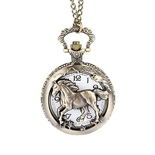 JTWMY Reloj de Bolsillo de Cuarzo Tallado/Hueco de Caballo Vintage con Colgante de Cadena, Collar de Regalo, Hueco