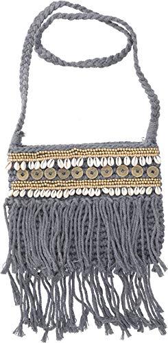 GURU-SHOP Bolsa de Hombro Macrame, Bolsa de Hombro con Perlas + Conchas...