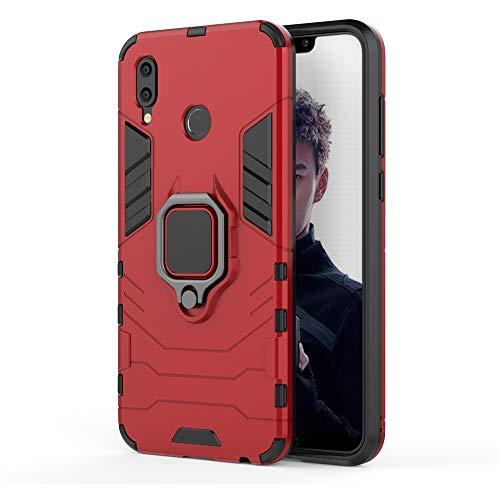 Huawei Honor Play Funda, MHHQ 2in1 Armadura Combinación A Prueba de Choques Escudo Cáscara Dura PC + TPU con Soporte Magnetic Car Mount Case Cover para Huawei Honor Play -Red