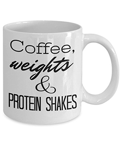 DKISEE Fitness Coffee Mug - Coffee, Weights & Protein Shakes - High Quality Gift for Exercise, Cross Trainer, Weight Lifter, Personal Trainer, Gym Large Mug 15oz