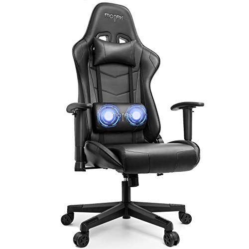 MOTPK Gaming Chair with Massage, Racing Style Ergonomic Computer Video Chair, High Back Lumbar Support Height Adjustment Headrest and Adjustable Lumbar Cushion E-Sports Swivel Chair, Black