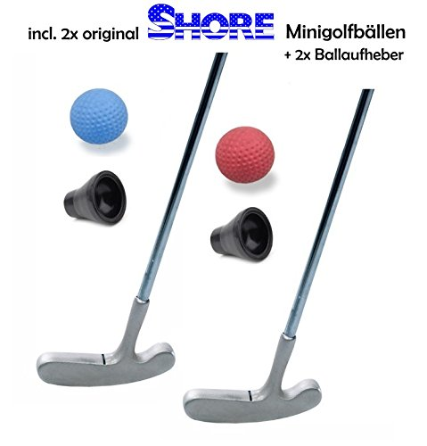 Golfas Minigolfset Partner - 6-teilig (mit 2X original Shore Minigolfball-Anlagenball) und 2X Minigolf-Pick-Up