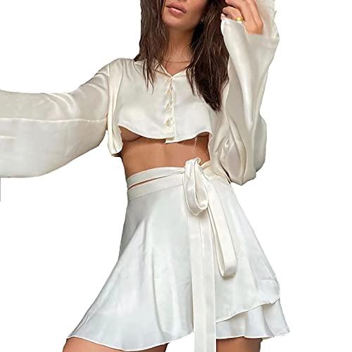 L-ELEGANT 2 Piezas Manga Larga Camiseta Satén Vestido Establecer,Niña Camiseta y Cordones Falda,Mujeres Botón de Solapa Camisa Conjuntos de Falda Corta-Blanco S