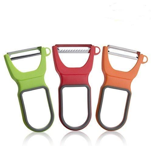Zoejoy 3 Set Swiss Vegetables and Fruits Peelers with 3 Blades,Red/Green/Orange