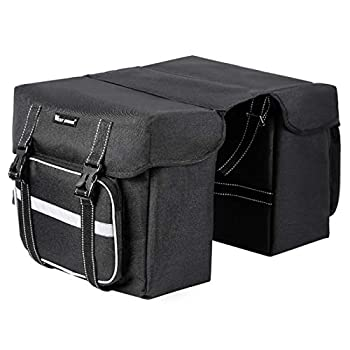 BAIGIO Bike Double Pannier Bags Waterproof Bicycle Rear Seat Panniers Pack with Rain Cover & Reflective Stripe  Black