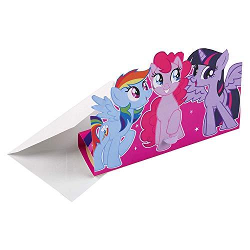 Amscan 9902515 - Einladungskarten Mein kleines Pony, 8 Stück, Größe 11,3 x 16 cm, Karten mit weißen Umschlägen, Einladung, Pferd, Einhorn, Geburtstag, Mottoparty, Party, My little Pony, Karneval