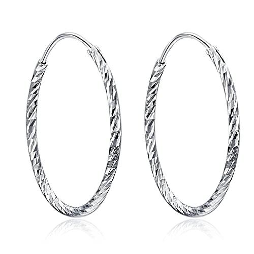 Pendientes de aro de plata de ley Pendientes sin fin de círculo redondo Joyas de aros para mujeres y niñas Unisex, Daimeter 30,40,50mm